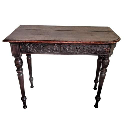 Victorian Mahogany Side Table with Decorative Carved Frieze image-1