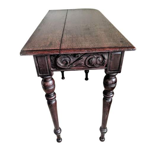 Victorian Mahogany Side Table with Decorative Carved Frieze image-2