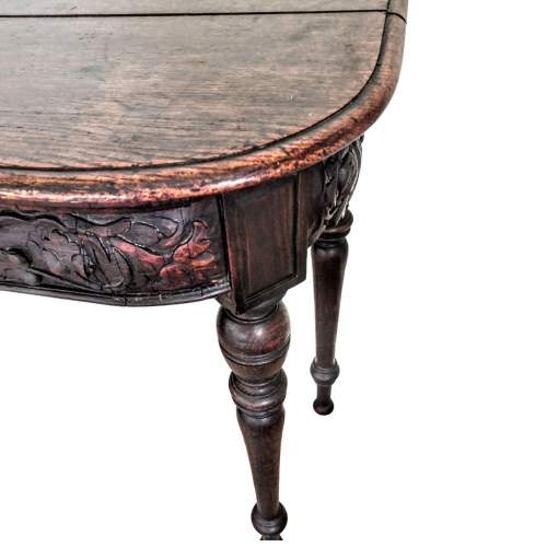 Victorian Mahogany Side Table with Decorative Carved Frieze image-3