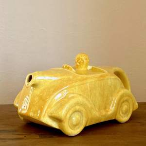 Art Deco Sadler Yellow Racing Car Teapot