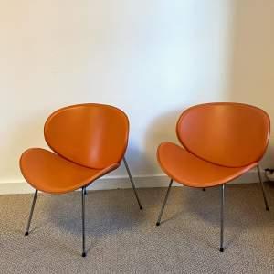 Pair of Pierre Paulin Design Orange Slice Chairs