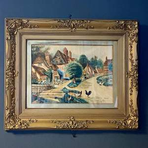 Framed Victorian Watercolour Village Scene