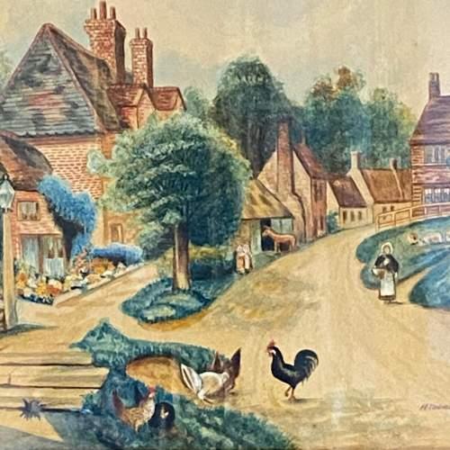 Framed Victorian Watercolour Village Scene image-2
