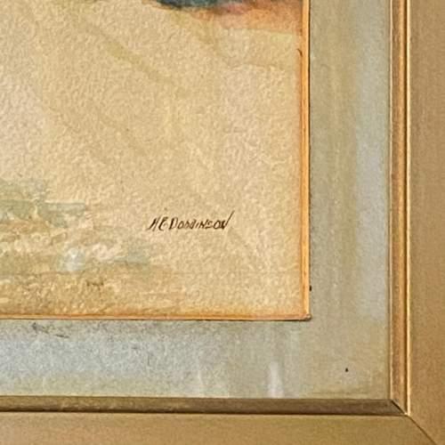 Framed Victorian Watercolour Village Scene image-3