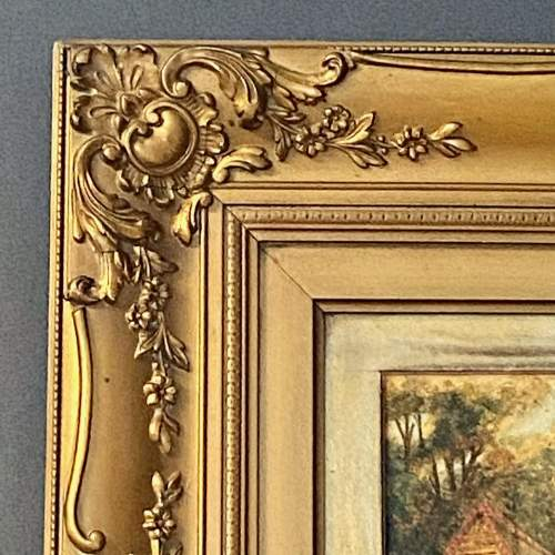 Framed Victorian Watercolour Village Scene image-4