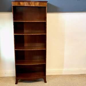 Tall Inlaid Mahogany Open Bookcase