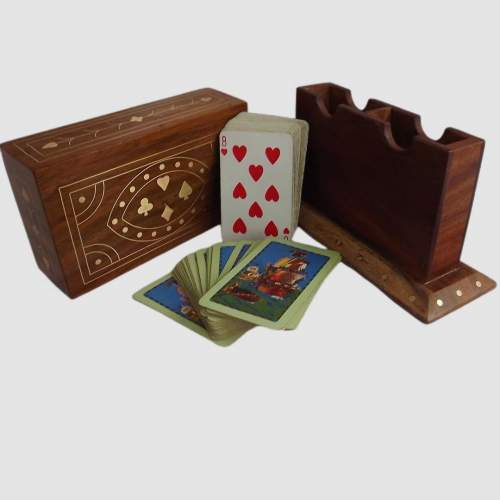 Vintage Brass Inlaid Teak Desk Top Card Card Box with Cards image-1