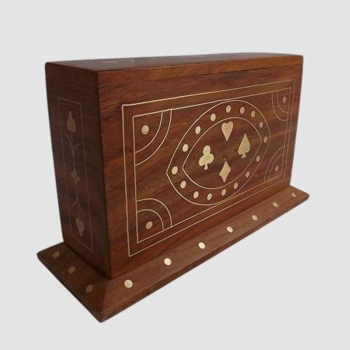 Vintage Brass Inlaid Teak Desk Top Card Card Box with Cards image-2