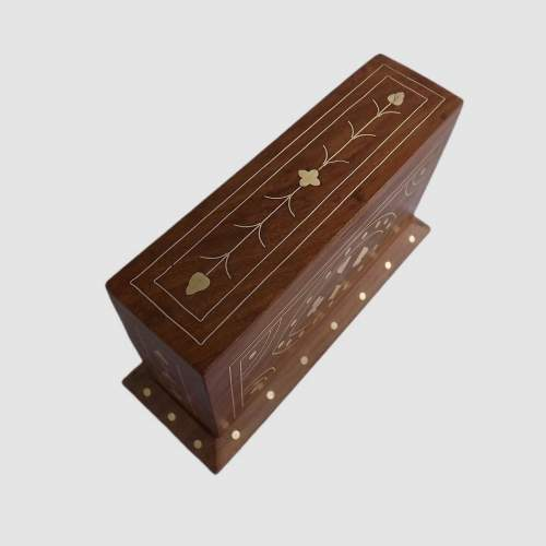 Vintage Brass Inlaid Teak Desk Top Card Card Box with Cards image-4