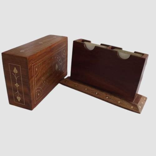 Vintage Brass Inlaid Teak Desk Top Card Card Box with Cards image-5