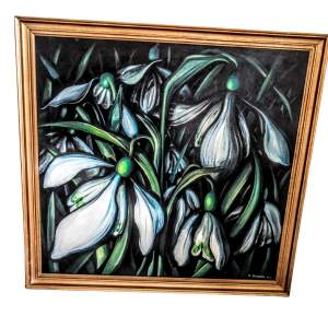 Signed Oil on Canvas - Snowdrops