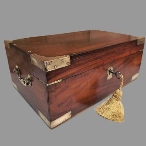 19th Century Brass Bound Anglo Indian Rosewood Campaign Box image-1