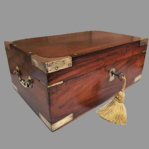 19th Century Brass Bound Anglo Indian Rosewood Campaign Box