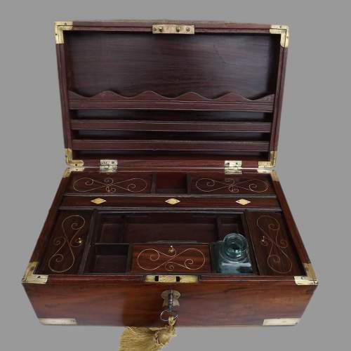 19th Century Brass Bound Anglo Indian Rosewood Campaign Box image-2