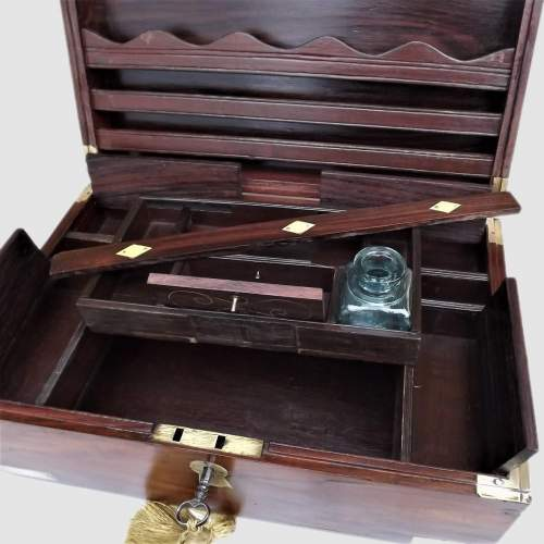 19th Century Brass Bound Anglo Indian Rosewood Campaign Box image-3