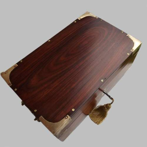 19th Century Brass Bound Anglo Indian Rosewood Campaign Box image-4
