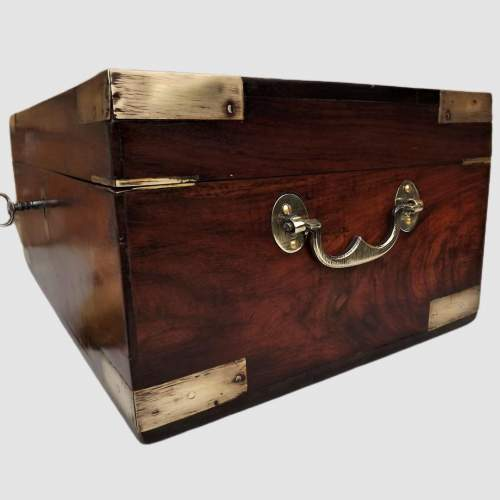 19th Century Brass Bound Anglo Indian Rosewood Campaign Box image-5