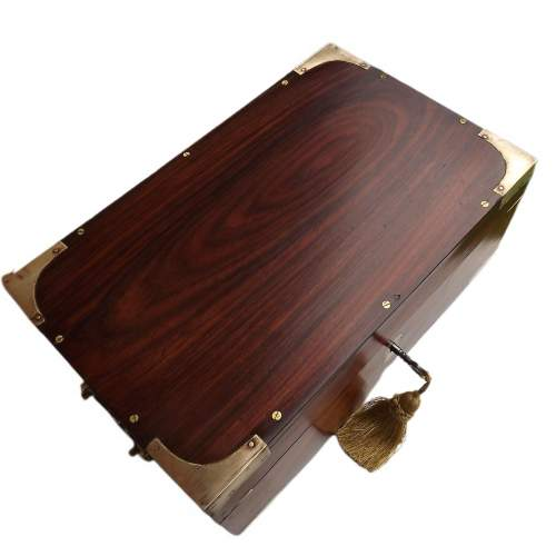 19th Century Brass Bound Anglo Indian Rosewood Campaign Box image-6