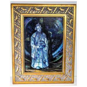Oil on Canvas Still Life - Wise man figurine and plate