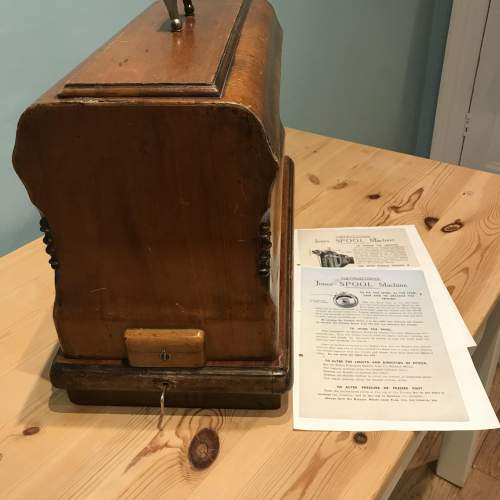 Decorative Jones Spool Cast Iron Sewing Machine circa 1900 image-6