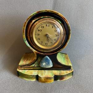 Art Nouveau Ceramic Mantel Clock with Ruskin Cabochon
