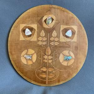 Arts and Crafts Pearl and Abalone Inlaid Roundel
