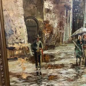 Wonderful Oil On Canvas Italian Street Scene In Ornate Frame
