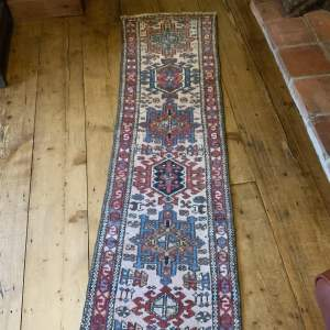 Lovely Old Hand Knotted Persian Runner Karajar Repeated Medallion