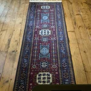 Stunning Hand Knotted Caucasian Runner Repeating Medallion