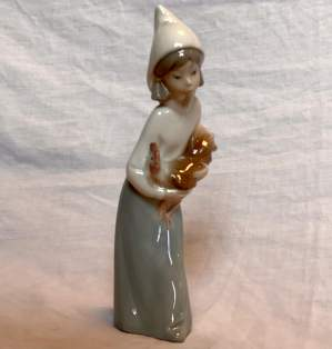 Lladro Ceramic Figurine of Girl Holding Cockerel