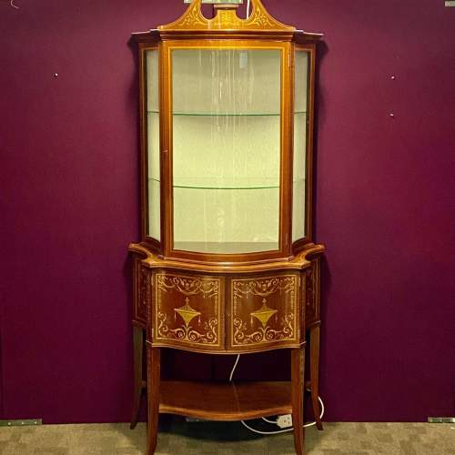 Fine Antique Mahogany Serpentine Shaped Display Cabinet image-1