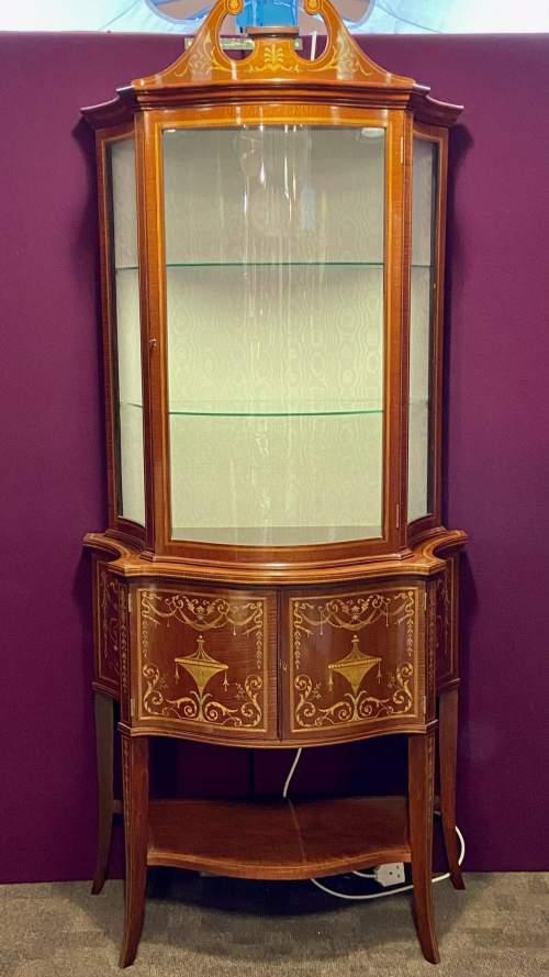 Fine Antique Mahogany Serpentine Shaped Display Cabinet image-5
