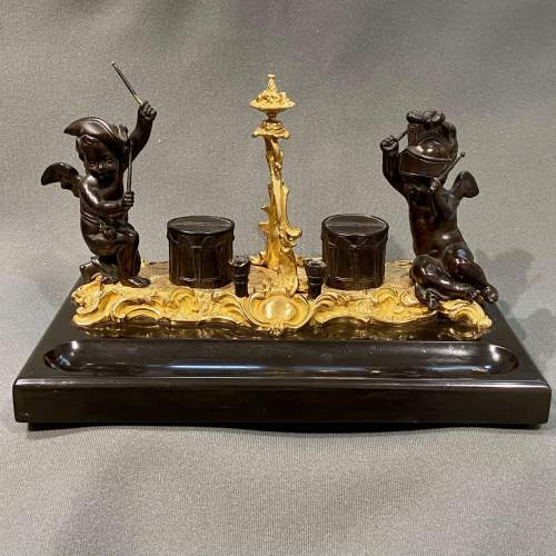 Quality 19th Century Bronze Desk Stand with Cherubs image-1