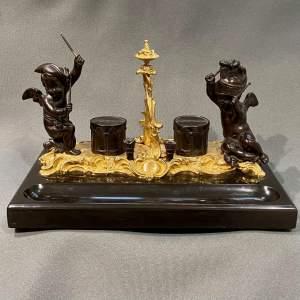 Quality 19th Century Bronze Desk Stand with Cherubs
