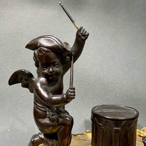 Quality 19th Century Bronze Desk Stand with Cherubs image-2