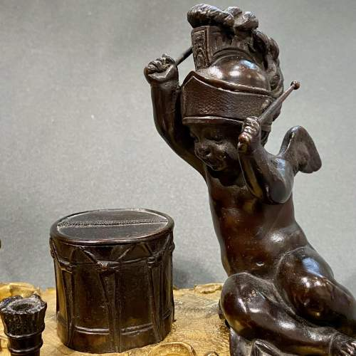 Quality 19th Century Bronze Desk Stand with Cherubs image-3