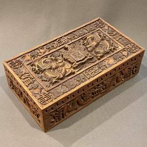Early 20th Century Chinese Carved Hardwood Box