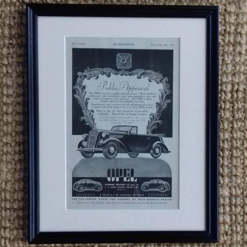 Framed Original 1937 Autocar Advert for the Opel Convertible image-1