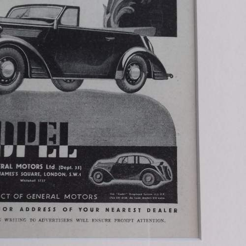 Framed Original 1937 Autocar Advert for the Opel Convertible image-4