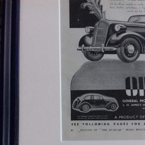 Framed Original 1937 Autocar Advert for the Opel Convertible image-5