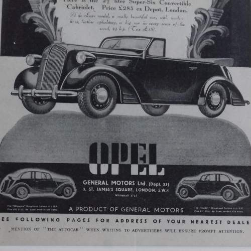 Framed Original 1937 Autocar Advert for the Opel Convertible image-6