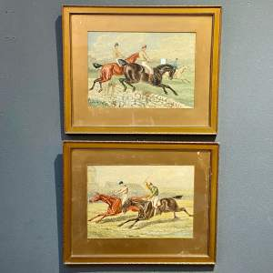 19th Century Pair of Horse Racing Watercolours after J.F.Herring