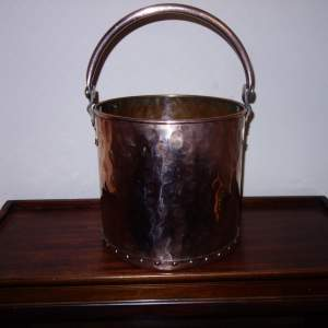 A Victorian Cylindrical Copper Log Bucket