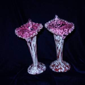 A Pair of Victorian Pink and White Splatter Glass Specimen Vases