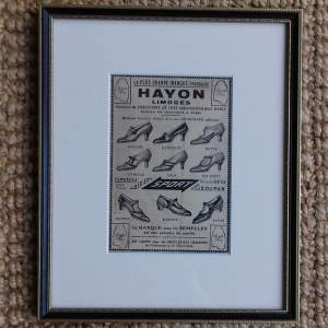 Framed Original 1926 Newspaper Advert for Hayon Limoges Shoes