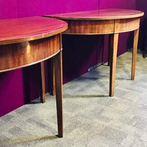 Pair of George III Inlaid Mahogany Demi Lune Tables