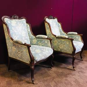 Pair of Victorian Carved Mahogany Parlour Chairs