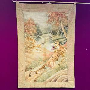Chinese Embroidery Wall Tapestry with Tigers
