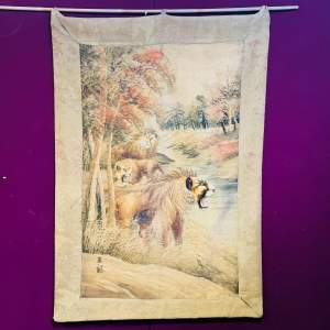 Chinese Embroidery Wall Tapestry with Lions
