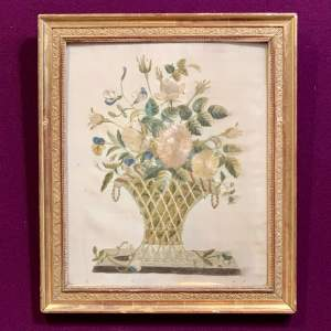 19th Century Silk Work Picture of Flowers in a Vase